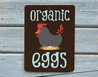 "Organic Eggs Sign 9"" X 12"" Chocolate. SKU: SN912506"