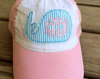 Personalized Seersucker Whale Applique Hat Cap Pink and White with Custom Monogram