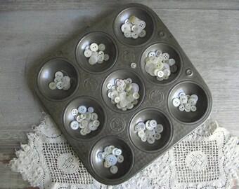 Vintage Ovenex Gem Tin | Round Muffin Baking Pan | Industrial Organization Storage | Hemisphere Pan | Industrial Decor | Vintage Kitchen