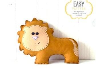 Lion Stuffed Animal Sewing Pattern, Plush Lion Pattern, Felt Lion Sewing Pattern, Lion Softie, Lion Stuffie