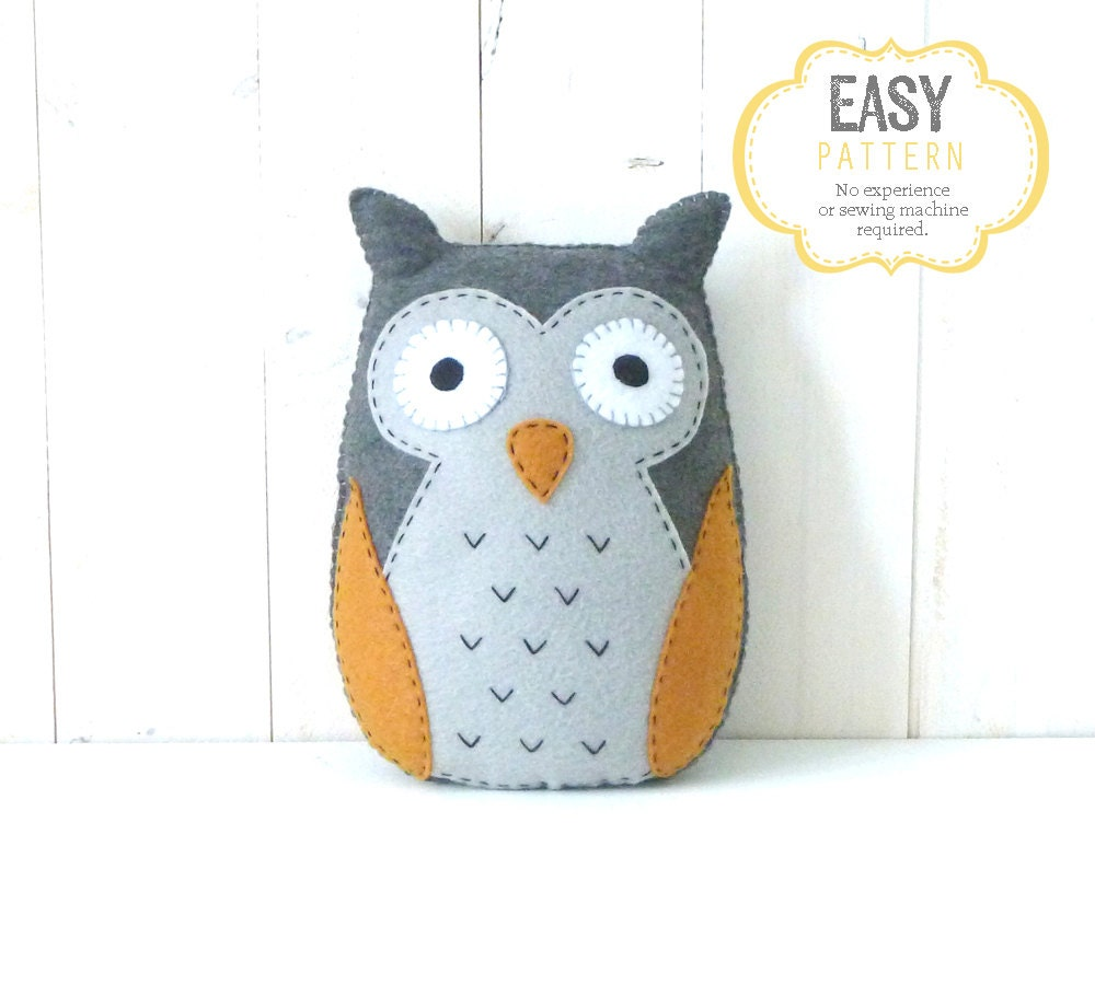 Owl Sewing PATTERN Felt Stuffed Owl Plushie Hand Sewing