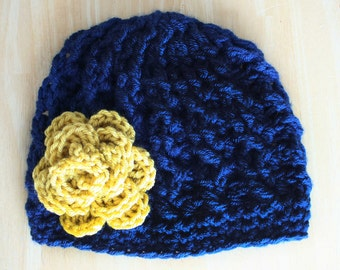Crochet Cable Knit hat for women, navy blue and mustard yellow, soft cabled hat, Notre Dame colors, chemo cap, Adult sizes