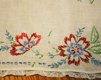 Vintage Embroidered Dresser Runner - Table Runner