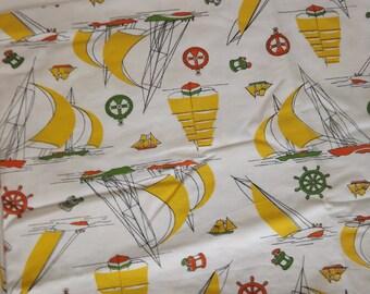 Yellow Green and Orange Nautical Print Decorator Weight Vintage Fabric