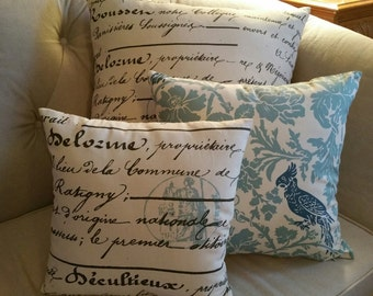 blue French script with stamp pillow cover