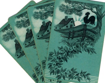 COCK-A-DOODLE-DOO (4) Vintage Single Swap Playing Cards Paper Ephemera Scrapbook