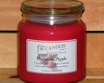 Macintosh Apple Soy Candle ~ 16 Ounce Jar ~ Fall Apple Fragrance ~ Strong Apple Scent ~ 16 Candles by J.P. Lawrence