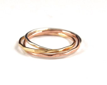 Tri color rolling rings - russian wedding ring - interlocking ring - trinity ring - skinny rolling ring -  gift for her