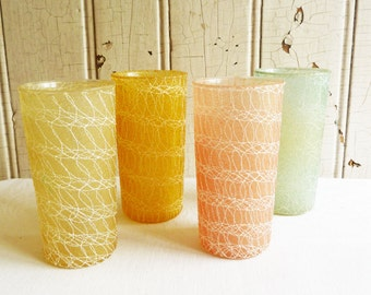 Vintage Spaghetti-Ware Tumblers - Set of Four - MId-Century 1950s or 1960s - Spaghetti Barware - Yellow, Peach, Green and Gold