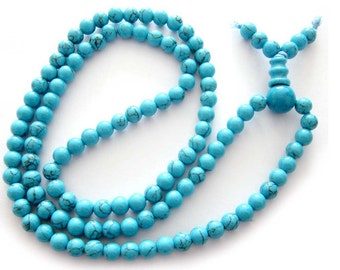 6mm Imitate Turquoise Meditation Yoga Tibetan Buddhist Prayer Beads Mala  ZZ106