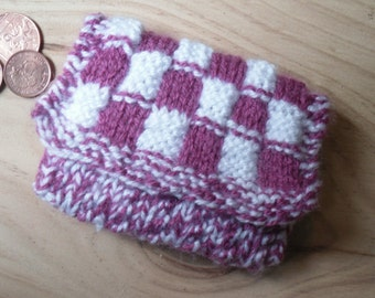 Knitted Coin Purse, Hand Knitted, Pink and White Checked Purse