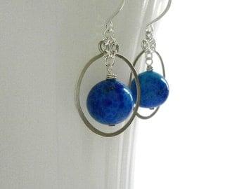 Blue Venetian Bead Silver Circle Earrings Sterling Silver Hoop Dangles Lapis Blue Silver Halo Earrings Hammered Wire Jewelry
