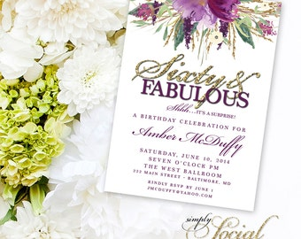 Glitter Glam Sparkling Amethyst Purple Watercolor Flowers Sixty and Fabulous Invitation Printable 60th birthday