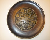 Vintage Copper Inlay on Wood Souvenir Plate from Poland - Hand Crafted Beauty - Flowers Outlined with Metal and Wood Burned Details