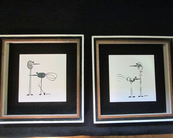 Pair of Emil Mid Century Art Tiles - Set of Two Fingerprint Insect Shadow Boxes -  Vintage Cool - Mod Black and White Wall Hangings