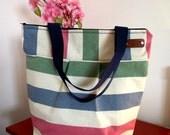 Tote Beach Bag Striped Large Beach Bag Upgraded with Zipper Closure Nautical Stripes Bag Shoulder Bag Preppy Fashion Bags Summer Tote