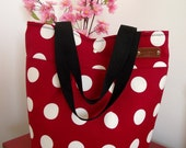 Tote Beach Bag Polkadots Large Beach Bag RED AND WHITE Nautical Polka Bag Shoulder Bag Preppy Fashion Bags Summer Tote