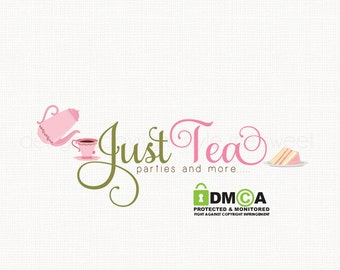 tea party logo tea salon logo premade logo design bespoke logo design boutique logo design graphic design watermark logo cake logo design