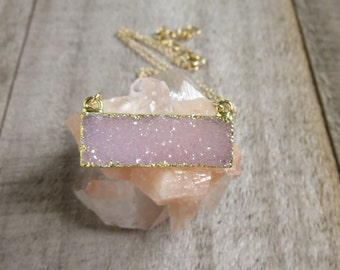 Druzy Necklace, Natural Druzy Quartz Necklace, Drusy Necklace, Gemstone Bar Necklace, Layering Necklace, Druzy Quartz Jewelry
