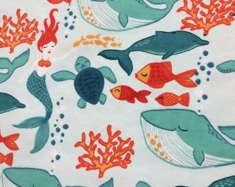 Mermaids and Whales - Cotton FLANNEL Fabric