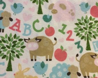Barnyard Friends - Cotton FLANNEL Fabric - BTY