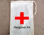 Bachelorette Party,  Hangover Kit, Drawstring Favor Bags, Personalized FREE, Choose Size