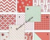 Custom Baby Girl Crib Bedding Set Bumper Skirt Blanket Coral Mint Damask Chevron