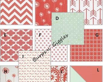 Custom Baby Girl Crib Bedding Set Bumper Skirt Blanket Coral Mint Damask Chevron