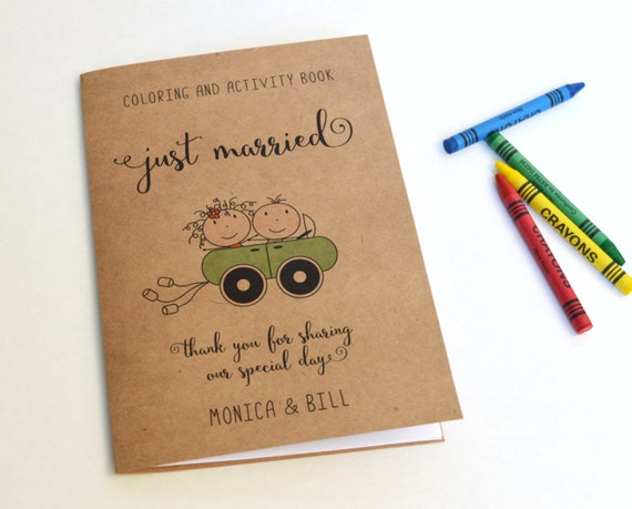 Wedding Coloring Book Kids Favor Rustic