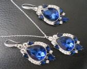 Blue Bridal SET chandelier Blue Wedding Earrings Crystal Bridal Earrings Swarovski Crystal Earrings Bridal Jewelry  Rhinestone Earrings