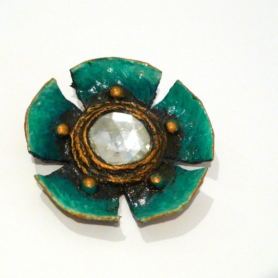Enid collins paper mache flower brooch vintage blue papier for How to make paper mache jewelry
