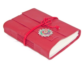 Red Leather Journal with Heart Cameo Bookmark - Ready to Ship