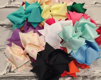 "Boutique Baby Girl Hair Bow Clip attached to alligator clip. Pick 1 colors. 4.5"" Hairbows Hair Clips"