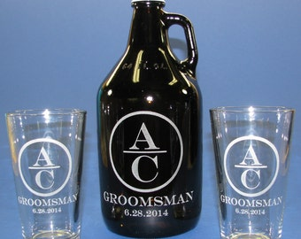 Growler 64 Oz with 2 Etched Pint Glasses Personalized by You