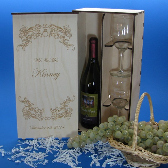 Personalized Wedding Wine Gift Box Set With By