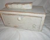 Vintage Shabby Off White Painted SHOE SHINE BOX Caddy