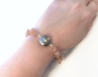 moonstone and silver bracelet, pink moonstone strawberry quartz bracelet