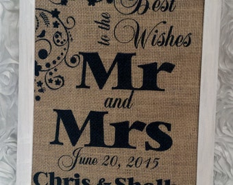 Personalized Best Wishes for Mr & Mrs. 8.5x11 Burlap Print
