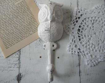 owl coat hook owl nursery decor jewelry holder cast iron white owl shabby chic whimsical decor room decor cottage chic decor