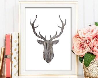 Deer Silhouette - Wood Grain - Rustic Printable Art - INSTANT DOWNLOAD -  5x7,  8x10, and 11x14