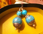 Exquisite Tibetan Genuine TURQUOISE, Elaborate STERLING Silver Repousse, Carved Turquoise Pierced Vintage Dangle/Drop Earrings