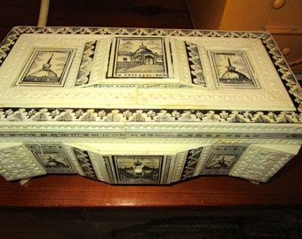 Wow: Estate Ivory/Cream Hand-Etched/Carved CELLULOID, Black Inlays, Dimensional Vintage SPANISH Hinged Lid Jewelry/Trinket Box w/CATHEDRALS