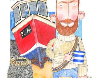 Beardy McFisherman - signed limited edition print