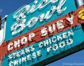Roadside Restaurant - Rice Bowl Chop Suey in Merced, California. Fine Art Photograph. Road Trip Vintage Neon Restaurant Decor