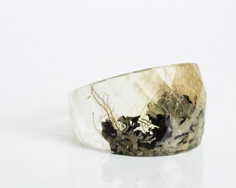 clear round faceted eco resin ring featuring Pacific Northwest lichen - size 6.5