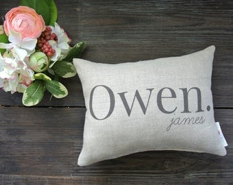 Personalized Name Pillow, Baby shower gift, Child's Name Pillow, Personalized Baby Pillow, Birth Announcement Pillow, Nursery Decor, Rustic