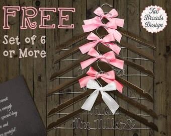 FREE Hanger set of 6 or MORE, Wedding Hanger, Bride Hanger, Bridesmaid Hanger, Wedding Hangers, Personalized Hanger