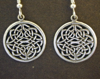 Sterling Silver Celtic Shield Earrings on Sterling Silver French Wires
