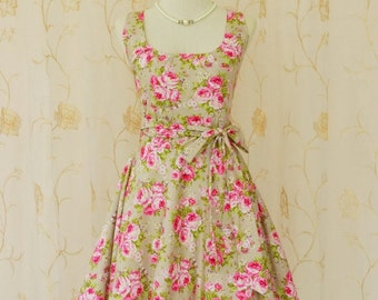 My Lady - Sweet Pink Floral On Pale Olive Green Sundress Spring Summer Dress Floral Bridesmaid Dress Sweet Floral Tea Dress XS-XL Custom