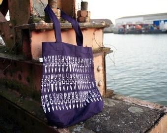 "Organic Tote Bag ""bullets purple"" punk DIY screen-print white eco"
